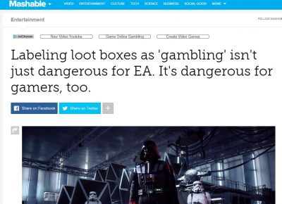 Brandon J. Huffman quoted on loot boxes and gambling in Mashable